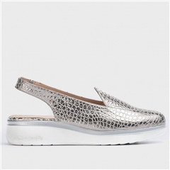 Wonders Embossed Metallic Leather Slingback Shoes - Lead