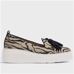 Wonders Eco Zebra Print Flatform Loafers