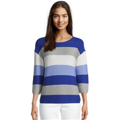 Betty Barclay Cotton Blend Bold Striped Jumper - Blue