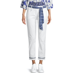 Betty Barclay Slim Fit Embroidered Cuffs Jeans - White Denim