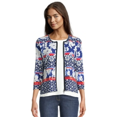 Betty Barclay Striped Floral Tile Print Jersey Jacket - Blue