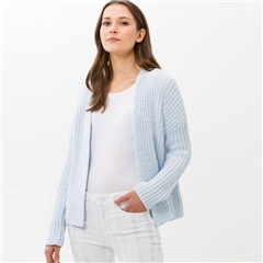 Brax 'Anique' Chunky Knit Edge To Edge Cardigan - Cool Blue