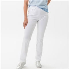 Brax 'Pamina' Full Length Pull-On Cotton Trousers - White