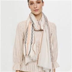 Cream 'Hella' 100% Cotton Embroidered Scarf - Coral/Grey