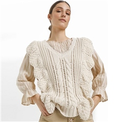 Cream 'Annolina' Knitted 100% Organic Cotton Pullover - Eggnog