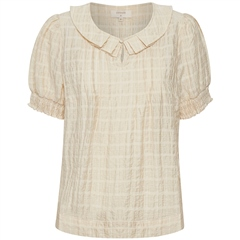 Cream 'Adda' Check Blouse With Peter Pan Collar - Yellow Delight