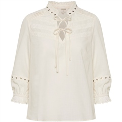 Cream 'Nitty' Eyelet Detail 100% Cotton Blouse - Eggnog