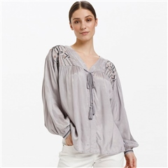 Cream 'Jilva Oz' Embroidered Detail Blouse - Silver Sconce