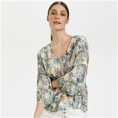 Cream 'Dusta' Floral Meadow Print Blouse - Blue Flower Mead