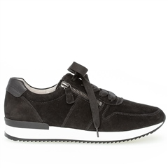 Gabor 'Best Fitting' Zip Detail Suede Trainers - Black