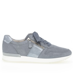 Gabor 'Best Fitting' Zip Detail Suede Trainers - Aquamarine