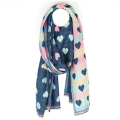 Peace Of Mind Reversible Pastel Hearts Scarf - Blue Multi