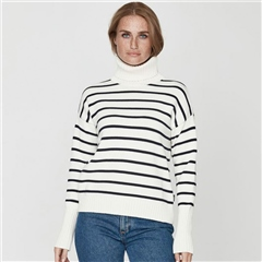 Holebrook 'Dagny' 100% Cotton Stripe Rollneck Jumper - Off White/Navy