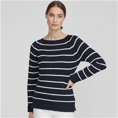 Holebrook 'Bella' 100% Cotton Stripe Crewneck Jumper - Navy/Off White