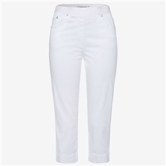 Brax 'Pamona' Pull-On Capri Cotton Trousers - White