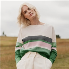 Van Kukil Cashmere Multi Colour Stripe Cashmere Jumper - Green