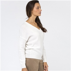 Van Kukil Cashmere V-Neck Cashmere Diamond Weave Jumper - White