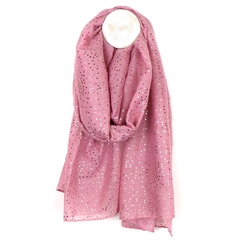 Peace Of Mind Metallic Spot Print Scarf - Dusky Pink