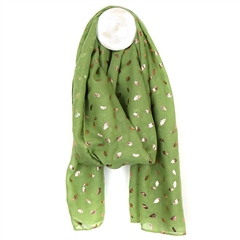 Peace Of Mind Metallic Leaf Print Scarf - Pistachio Green