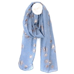 Peace Of Mind Metallic Dandelion Print Scarf - Cornflower Blue