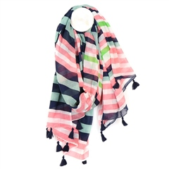 Peace Of Mind 100% Cotton Stripe Scarf  With Tassels - Salmon/Navy