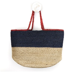 Peace Of Mind Colour Block Jute Bag - Navy