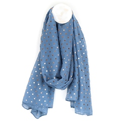 Peace Of Mind Metallic Polkdadot Print Scarf - Denim Blue
