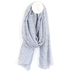 Peace Of Mind Metallic Polkdadot Print Scarf - Pale Grey