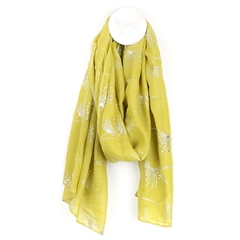 Peace Of Mind Metallic Dandelion Print Scarf - Chartreuse Yellow