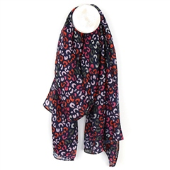 Peace Of Mind Animal Print Recycled Scarf - Navy/Pink/Red