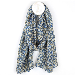 Peace Of Mind Heart Print Recycled Scarf - Blue/Taupe