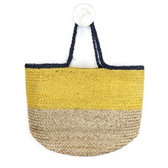 Peace Of Mind Colour Block Jute Bag - Yellow