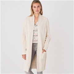 Repeat 100% Cotton Chunky Knit Cardigan - Ivory