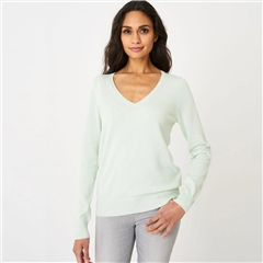 Repeat Cotton Blend V-Neck Jumper - Pistachio