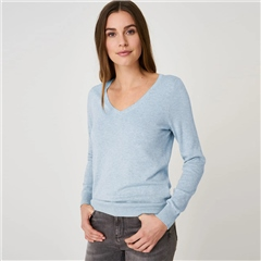 Repeat Cotton Blend V-Neck Melange Jumper - Light Blue