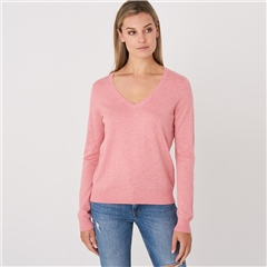 Repeat Cotton Blend V-Neck Melange Jumper - Watermelon