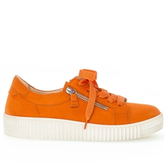 Gabor 'Best Fitting' Zip Detail Suede Flatform Trainers - Orange