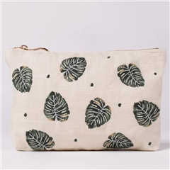 Elizabeth Scarlett Natural Makeup Bag - Jungle Leaf