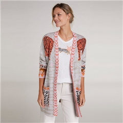 Oui 100% Cotton Mixed Animal Print Belted Cardigan