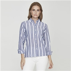 Holebrook 'Lilly' Linen Blend Classic Striped Shirt - Navy White