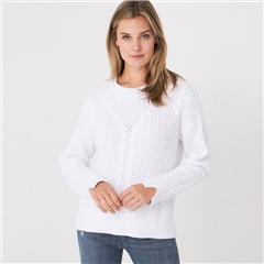 Repeat 100% Cotton Cable Detail Ribbed Jumper - White