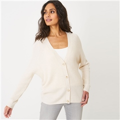 Repeat Cotton & Cashmere Blend Ribbed Cardigan - Ivory
