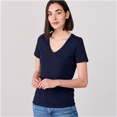 Repeat Cotton Blend V-Neck T-Shirt - Navy