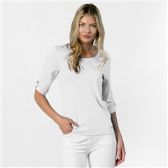 Marble 100% Cotton Lattice Back Top - White