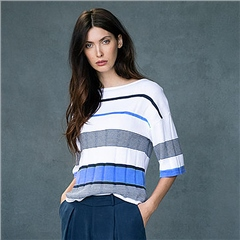 Marble 100% Cotton 1/2 Sleeve Striped Jumper - Sky Blue