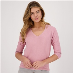 Monari 100% Cotton Ribbed V-Neck Jumper - Rose