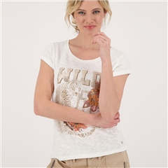 Monari 'Wild' 100% Cotton Slub T-Shirt - Off White
