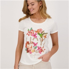 Monari 'Joy & Happiness' 100% Cotton Slub T-Shirt - Off White