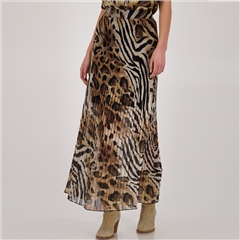 Monari Animal Print Pleated Maxi Skirt - Sahara
