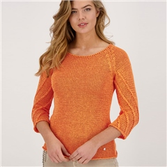 Monari Ribbon Knit Jumper With Decorative Sleeve Stitch - Orange
